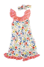 Girls Flowers and Polka Dots Romper Set