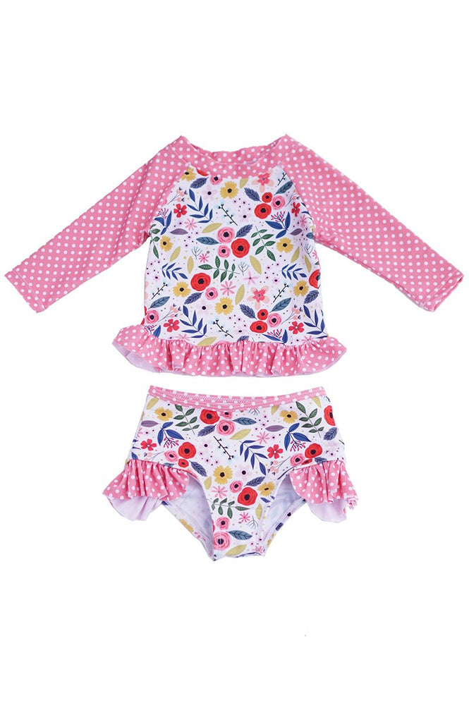 Girls Florals & Polka Dots Swimsuit Set