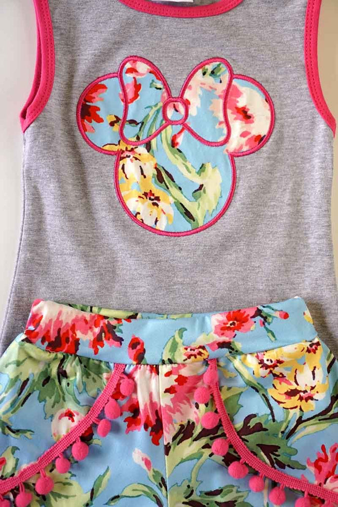 Girls Floral Minnie Mouse 2-Piece Set