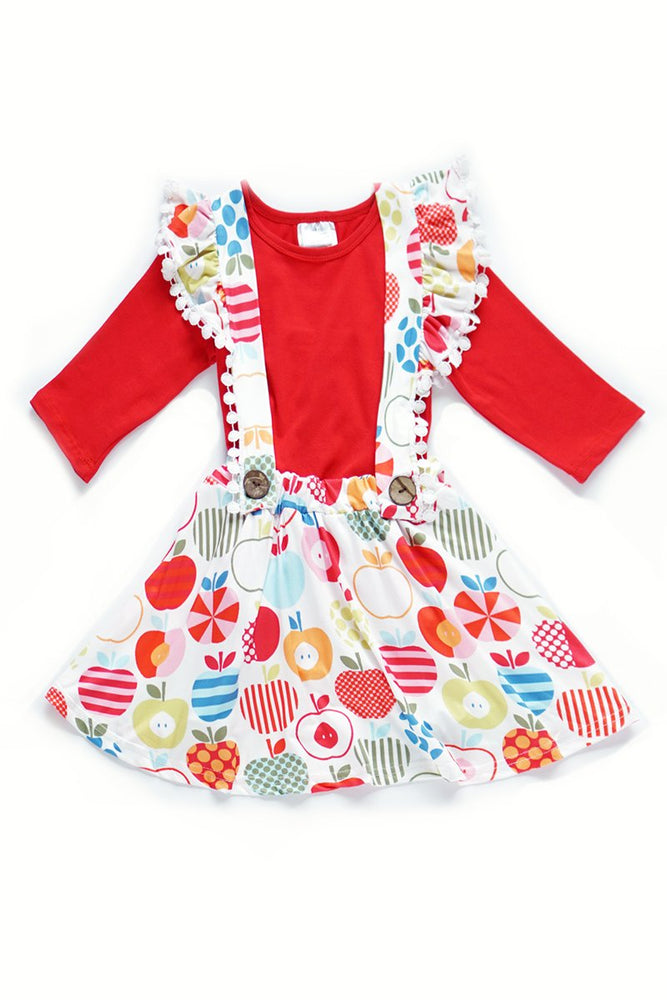 Girls Red Tee & Apples Skirtall Set
