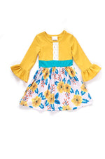 Girls Yellow & Floral Print Dress