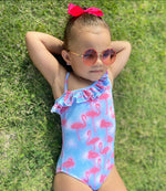 Girls Flamingo 1-Piece Swimsuit