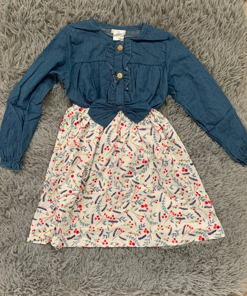 Girls Denim & Floral Print Dress