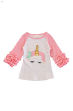 Girls Holiday Unicorn Top