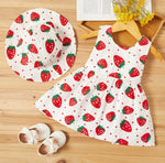 Girls Strawberries Dress Set