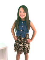 Girls Leopard & Denim Dress