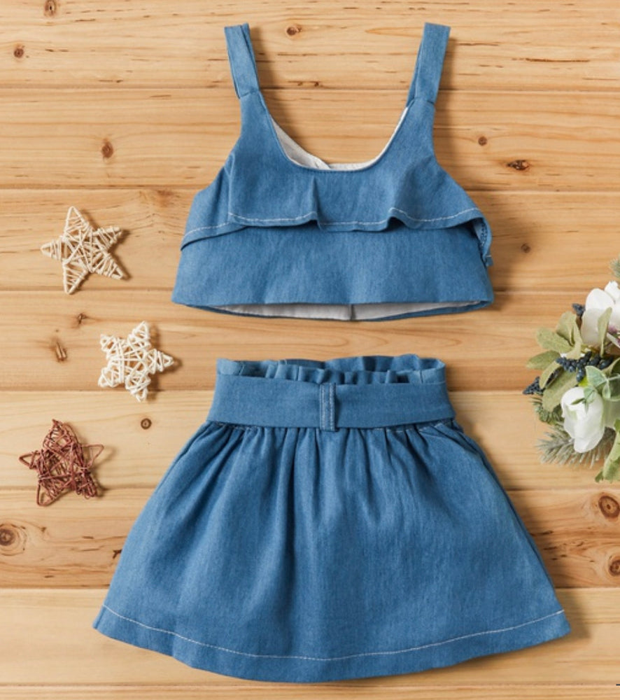 Girls Denim 2-Piece Set