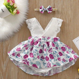 Girls Floral Bodysuit with Skirt Set