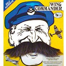 grey commander style stick on moustache