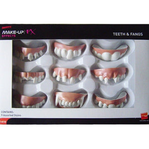 A box of 9 plastic joke teeth than fit on your top row of teeth. Includes over sized and broken teeth as well as vampire fangs.