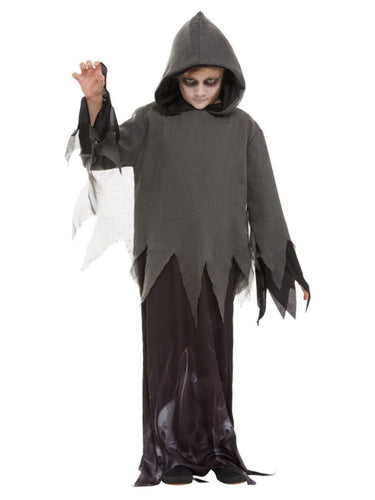 long layered black and grey robe with hood and uneven hem and long draping sleeves
