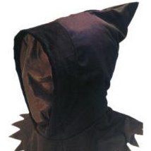 Made of black fabric and covers entire face and neck.  The front allows wearer to see out but their face cannot be seen
