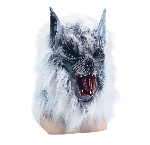 a scary full face rubber werewolf mask with white fur