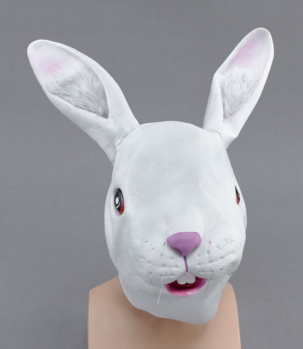 full face white rubber funny rabbit mask