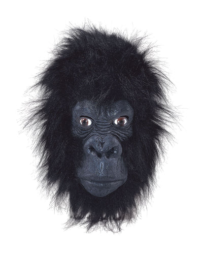 Rubber full face gorilla mask with black fur