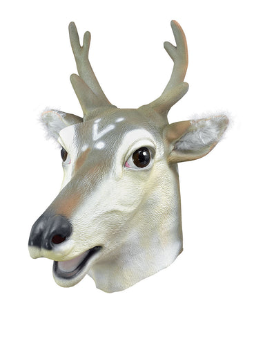full face rubber mask stag with furry ears, brown and cream with black nose and eyes