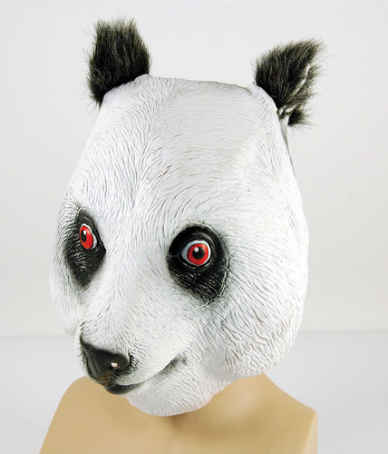 full face rubber mask with furry ears, black and white panda