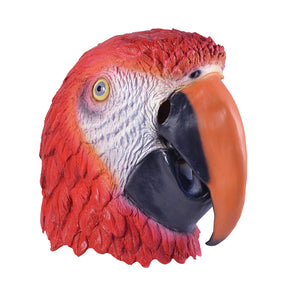 realistic over sized rubber full face mask red with white molded feathers and a black and orange beak