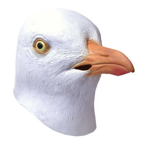 funny full face rubber seagull mask, white with yellow eye and orange beak