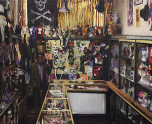 A print of an oil painting by Glasgow artist Thomas Cameron featuring the interior of Tam Shepherds Trick Shop with Limited edition print of an original oil painting by Thomas Cameron. Showing the interior of Tam Shepherds Trick Shop with Roy Walton standing behind the counter.