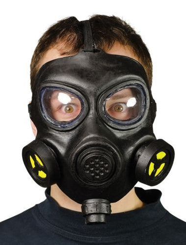 black plastic gas mask with clear plastic for eyes