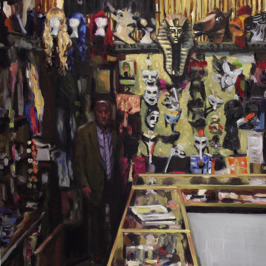 Detail of a print of an oil painting by Glasgow artist Thomas Cameron featuring the interior of Tam Shepherds Trick Shop with Roy Walton standing behind the counter.