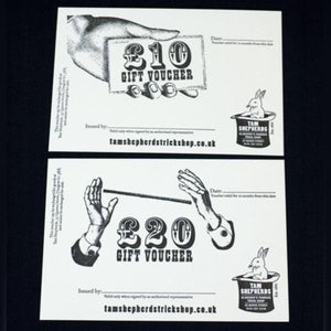 white card exclusive tam shepherds trick shop gift vouchers for £10 or £20.