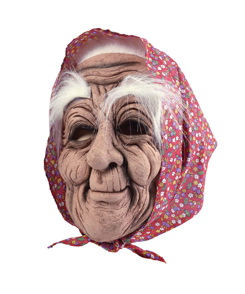 funny old woman full face rubber mask with bushy white eyebrows and red headscarf