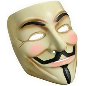 Guy Fawkes Anonymous V for Vendetta Halloween Fancy Dress Mask Cream with Pink Cheeks and black facial hair