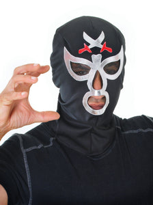 black and silver wrestler mask with holes for eyes nose and mouth