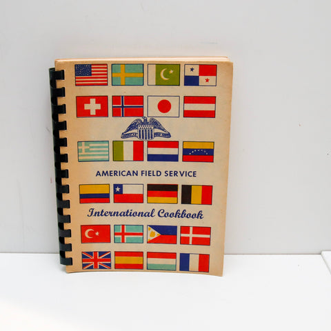 "Folk vintage spiral cook book ""American Field Service International"" [1959] First printing 140 pages"
