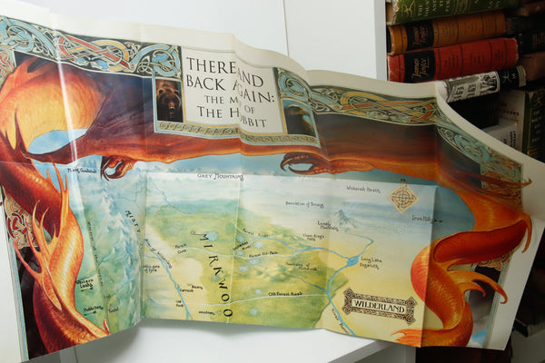 There And Back Again:  The Map of the Hobbit [1995] First edition fold-out illustrated 24 page booklet and 24 panel color map w/Smaug