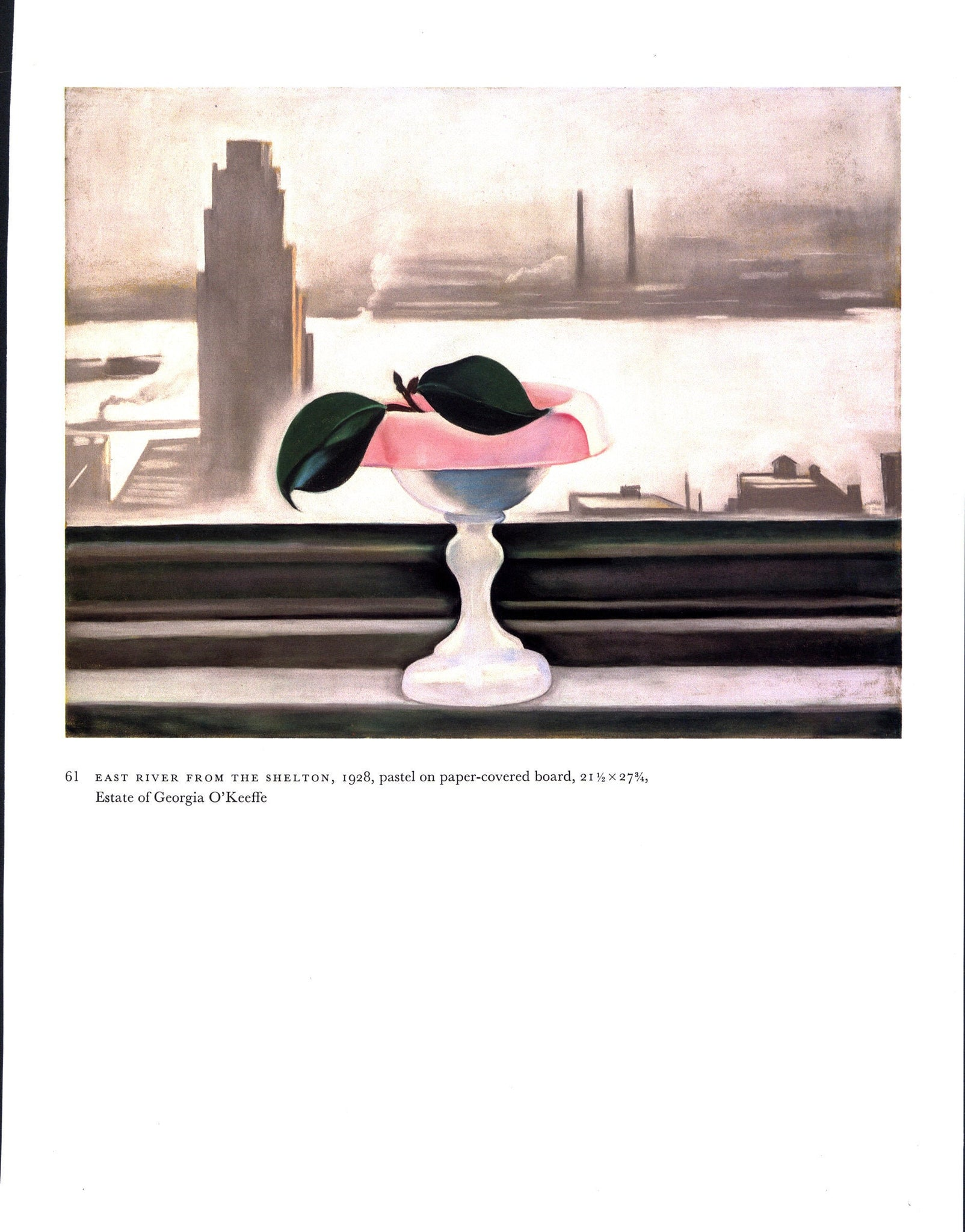 "Georgia O'Keeffe vintage art book plate [1928/30] ""East River From the Shelton / From a Shell"""