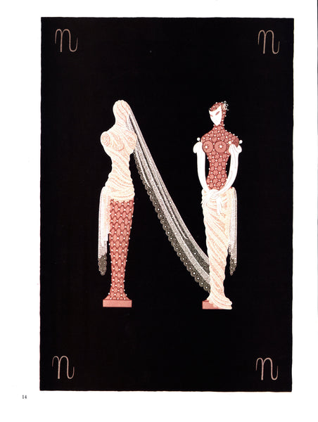 "Erte The Alphabet series ""M"" & ""N"" [1977] Two-sided vintage book page art"