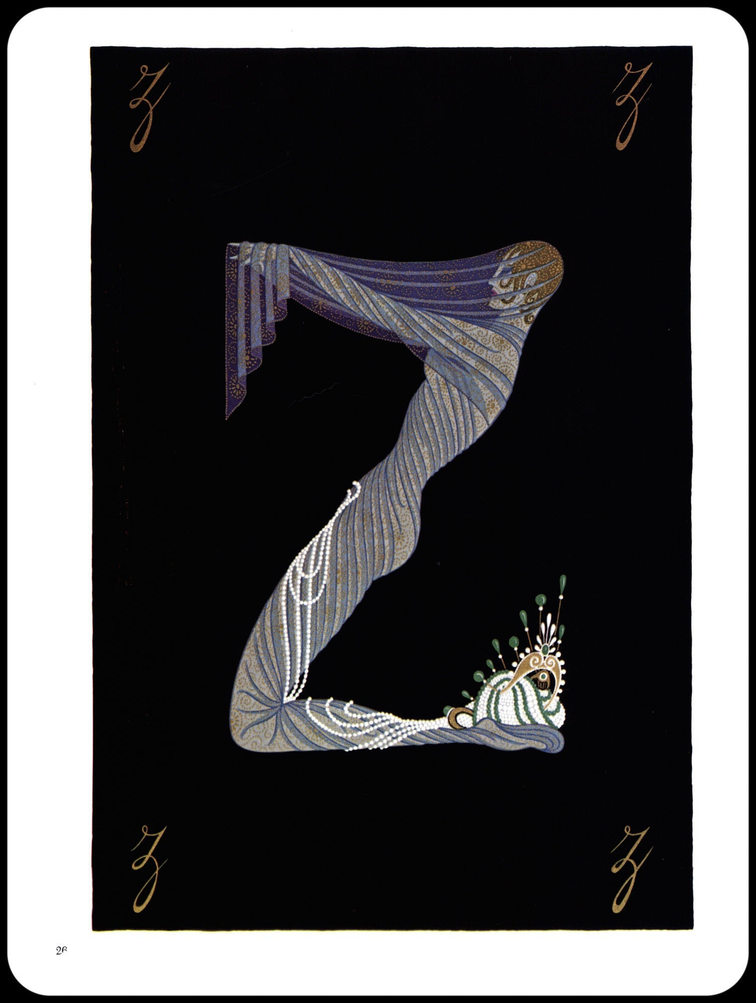 "Erte Classic Art Deco Print ""Y"" & ""Z"" [1977] The Alphabet series Book page print"