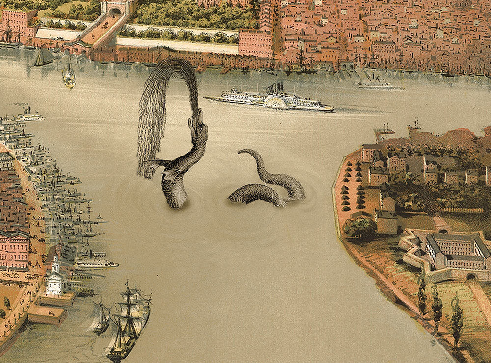 "Alternate History ""New York and the Great East River Serpent of 1872"" poster [2 sizes]"