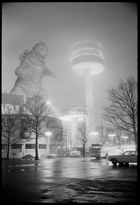 "Godzilla poster ""Night at Flushing Meadows"" [1964] Gojira wall print New York World's Fair"
