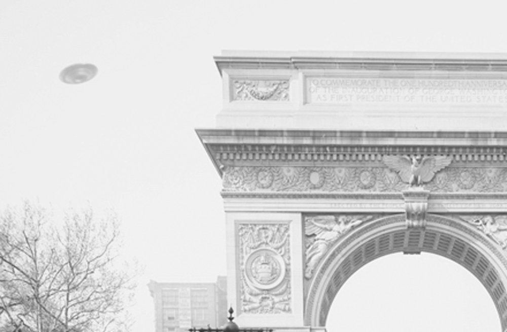 "UFO poster ""Washington Square Arch"" Greenwich Village Alternate history New York City"