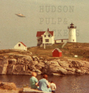 "UFO over Nubble Light Alternate history poster 13x19"" or 17 x 22"""