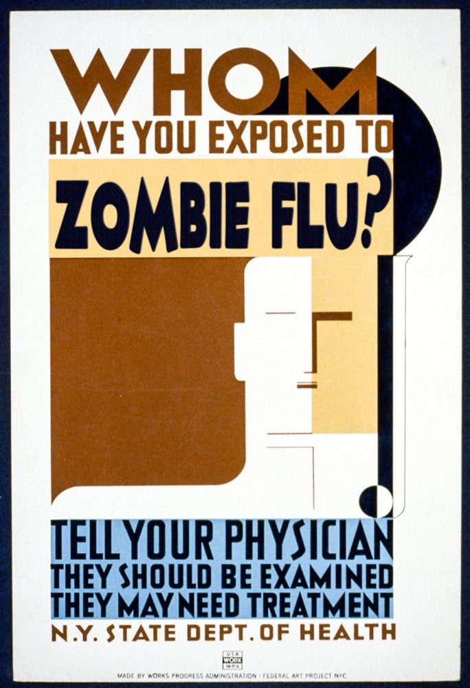 "Zombie Apocalypse Poster ""Whom Have You Exposed to Zombie Flu?"" WPA influenced Geek print"