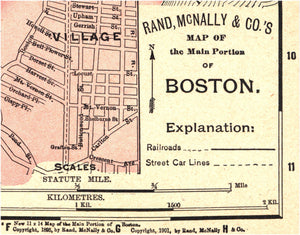 "Boston antique map [1901] Quadriptych print set (4) 8 x 10"" prints"