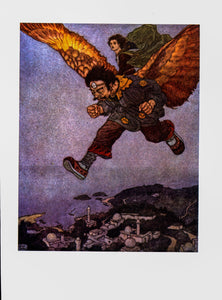 "Edmund Dulac ""The Eagle in the great forest flew swiftly..."" [1911] Stories from Hans Anderson Vintage art plate"