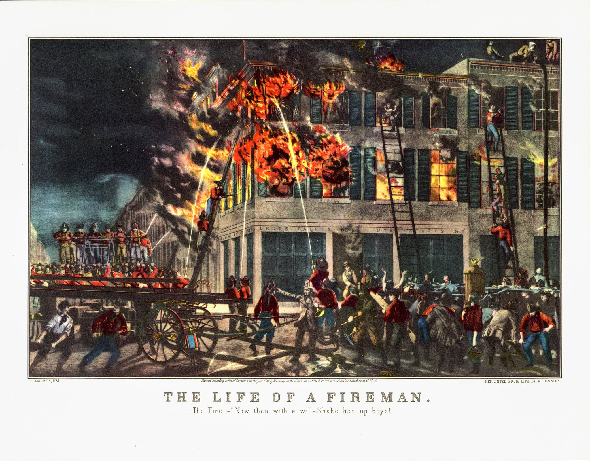 "Vintage book art ""The Life of a Fireman - The Fire"" [1854] Currier and Ives  15 x 11.5"" vintage book plate"