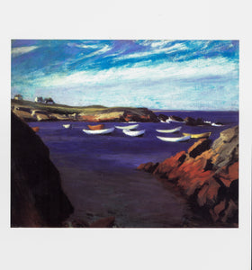 "Oil nautical painting vintage print ""The Dories, Ogunquit"" Edward Hopper [1914] Art book plate To be framed"