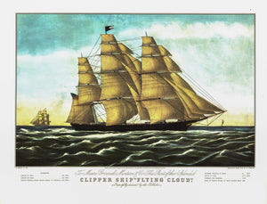 "Currier & Ives ""Clipper Ship 'Flying Cloud' "" [1852]  15 x 11.5"" Nautical vintage book page print"