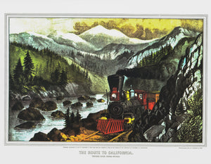 "Currier & Ives ""The Route to California - Truckee River Sierra-Nevada"" [1871]  15 x 11.5"" vintage book page <Ready to frame>"
