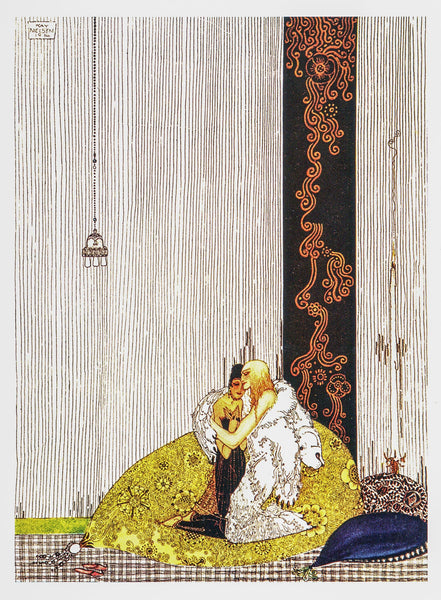 "Art Nouveau illustration Kay Nielsen [1914] ""The Lad in the Bear's Skin"" Color vintage book plate Ready to frame"