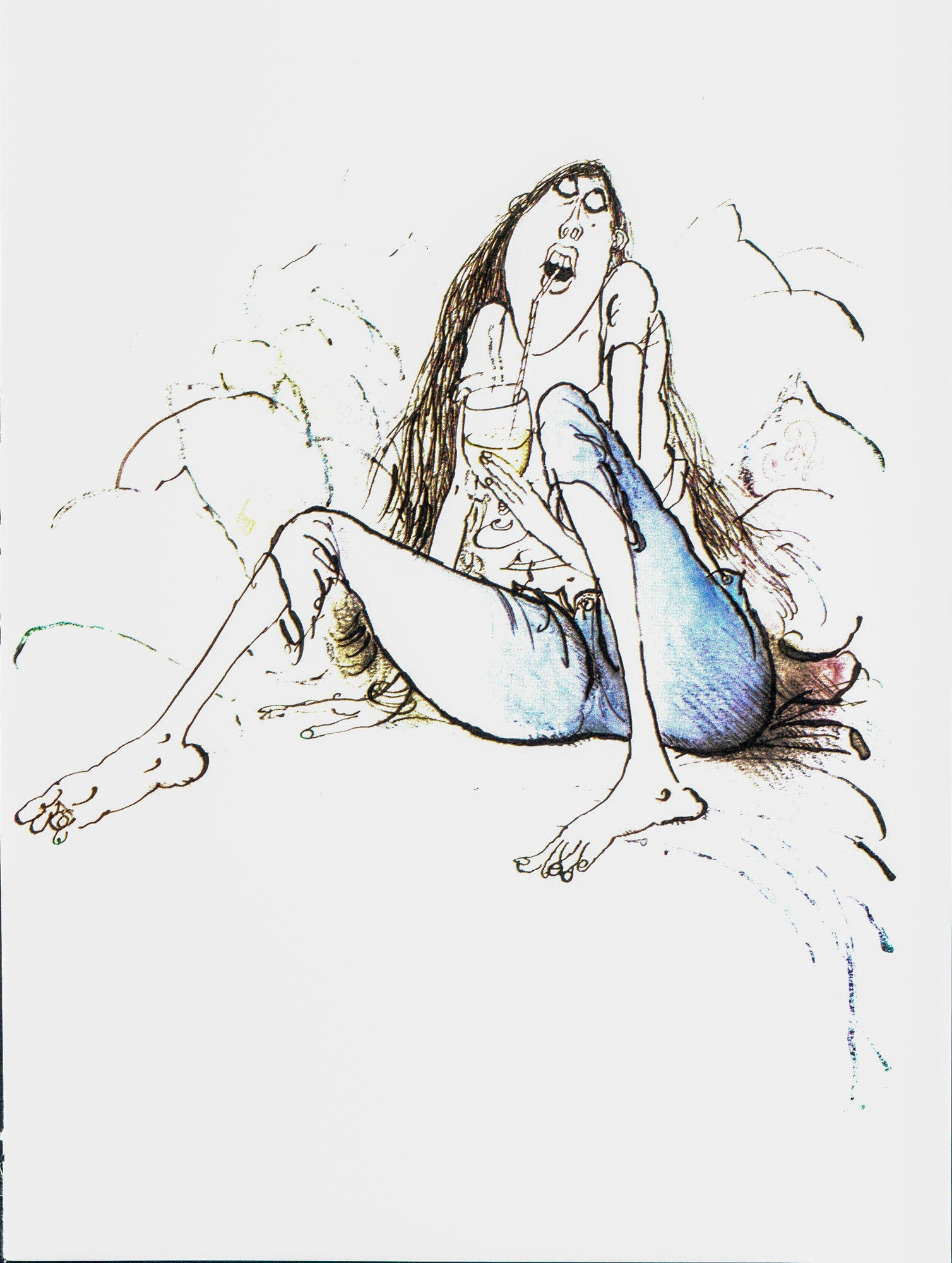 "Humorous print [1983] ""Leave to Age""  Vintage wine themed book plate Ronald Searle Winespeak sayings"