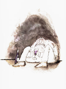 "Humorous print [1983] ""A Little Sullen""  Vintage wine themed book plate Ronald Searle Winespeak sayings"
