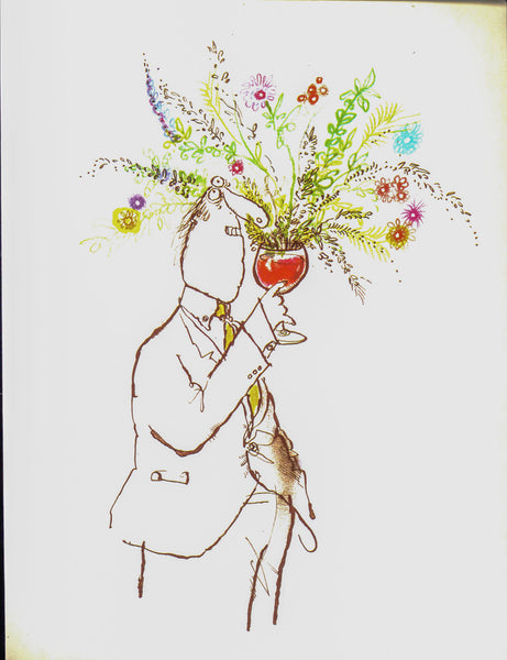 "Vintage Wine themed book plate Ronald Searle [1983] ""Delightful bouquet""  For cocktail hour"